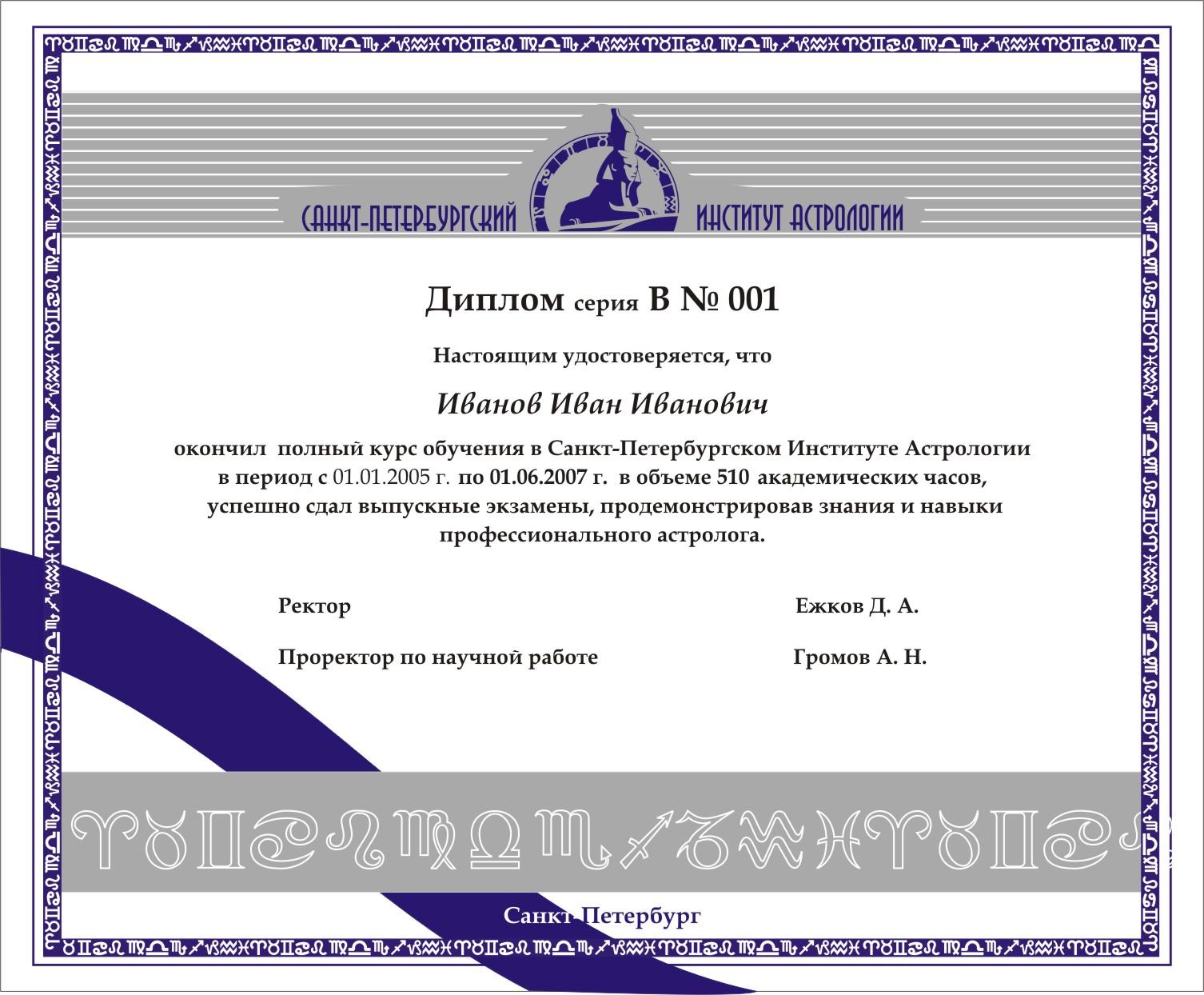 ДОКУМЕНТЫ Санкт Петербургский Институт Астрологии Обучение   диплом В1